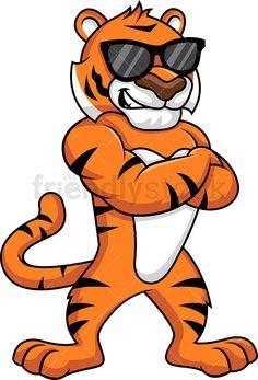 Cute tiger cartoon sitting.