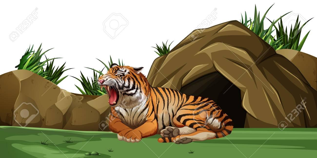 Tiger Cave Clipart.