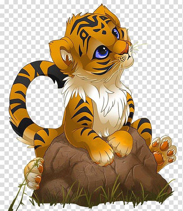 Tiger Cartoon , Cute Little Tiger Cartoon, tiger cub on rock.