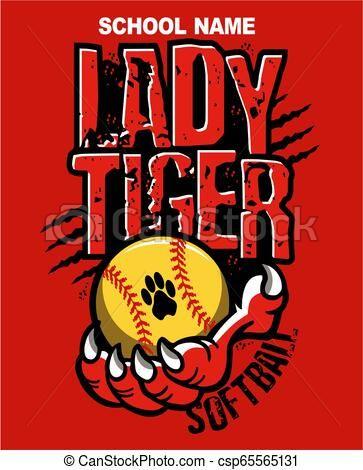 lady tiger softball Vector.