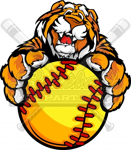Tiger Fastpitch Softball Clipart with his Paws on a Softball.