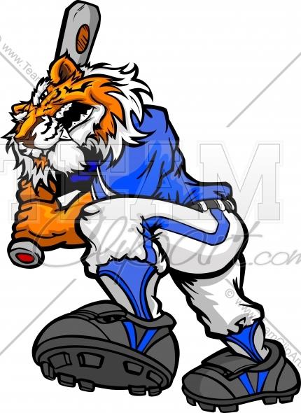 Tiger Baseball Batter Clipart and More Baseball Mascots..