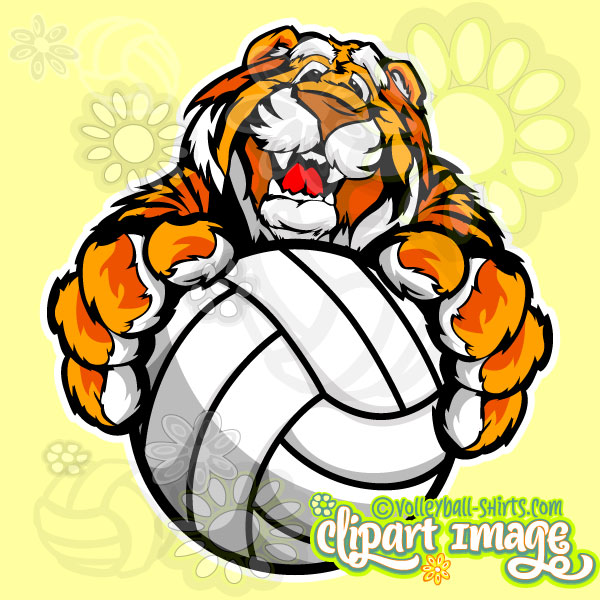 Tiger Holding Volleyball.