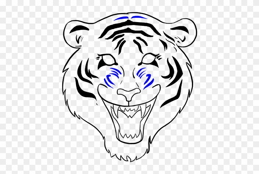 Drawn White Tiger Mouth Open Drawing Clipart (#2355050.