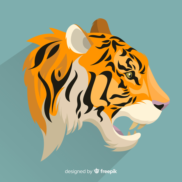 Open mouth tiger background Vector.