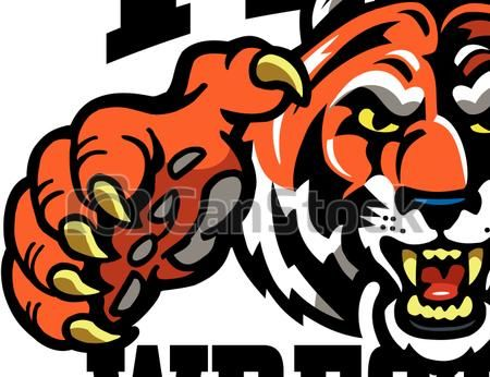 Clipart Vector of tiger wrestling team design with mascot.