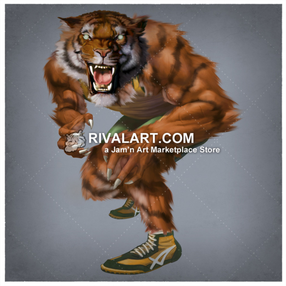 Tiger Wrestling With Transparent Background.