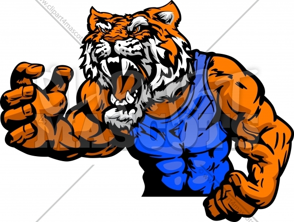 Wrestling Tiger Clipart Graphic Vector Cartoon.