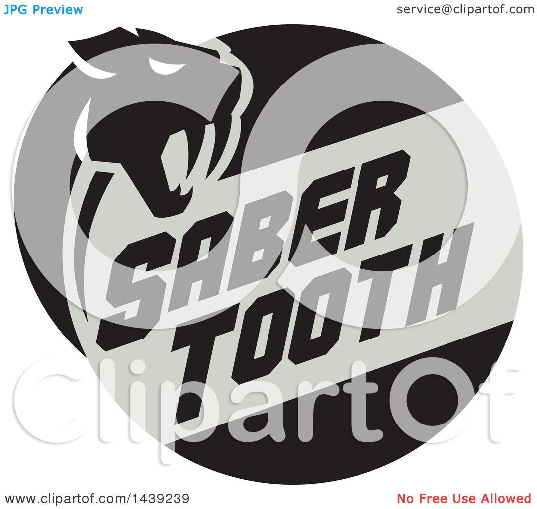 Clipart of a Retro Silhouetted Saber Tooth Tiger Cat with Text in.