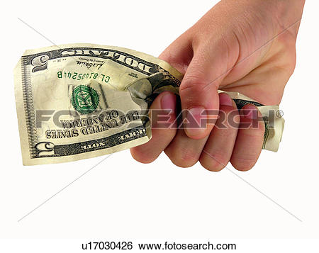 Stock Images of A Hand Holding Tightly To a 5 Dollar Bill.