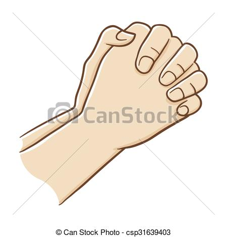 Vector Clipart of Two Hand Closed Tightly Praying, Vector.