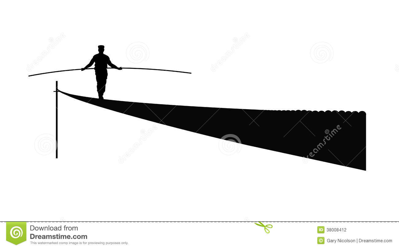 Tightrope Walker Stock Illustrations.
