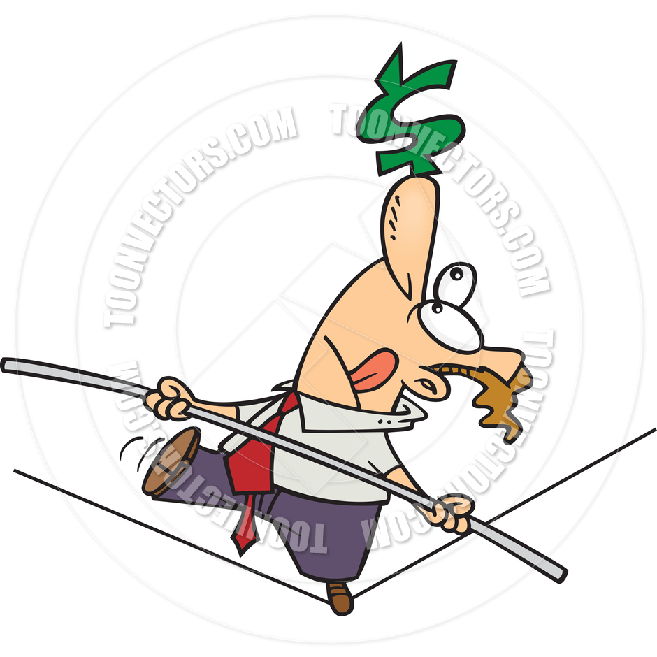 Cartoon Business Tightrope Walker by Ron Leishman.