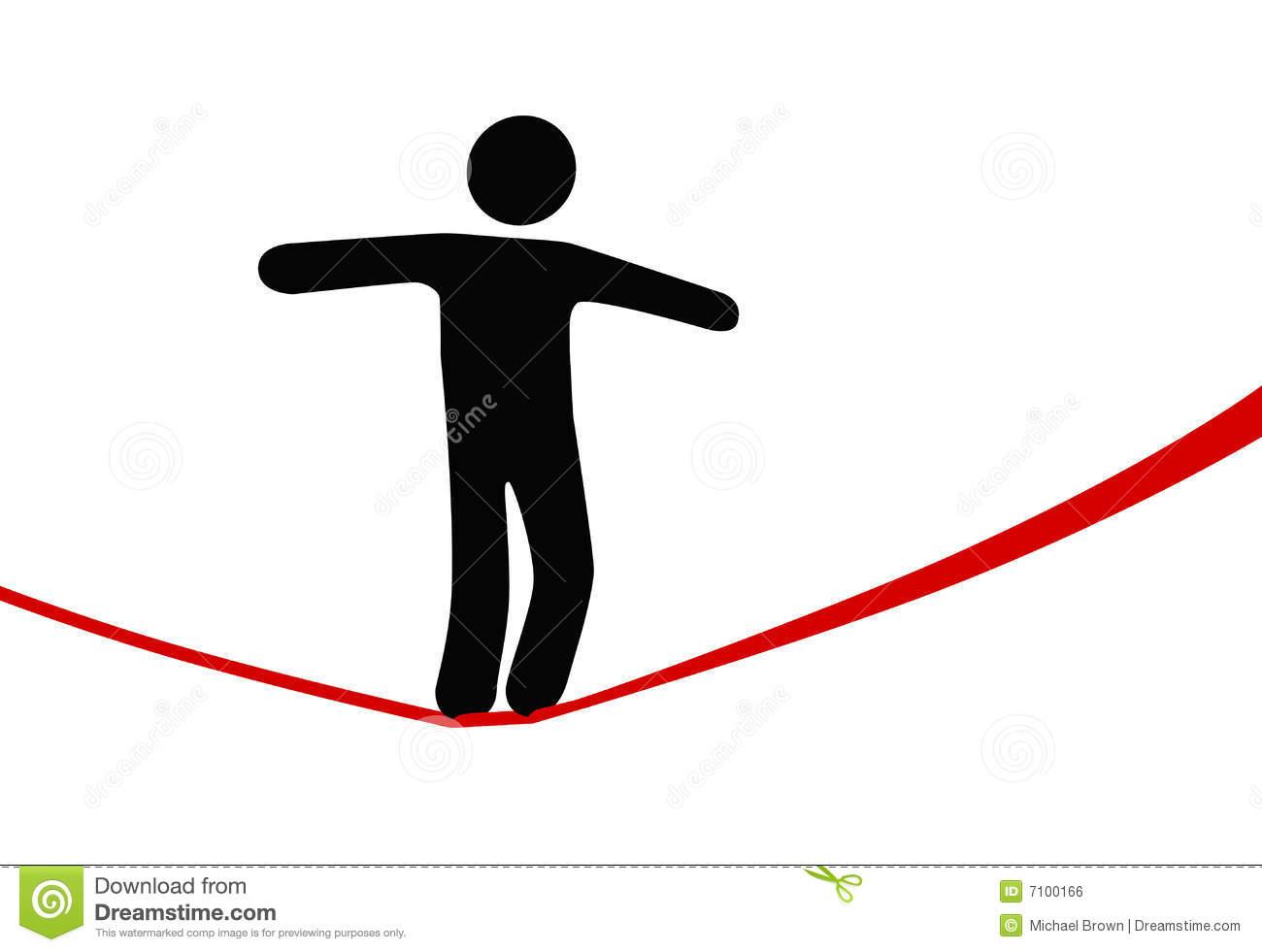 Symbol Person Walks Danger Tightrope Royalty Free Stock Image.