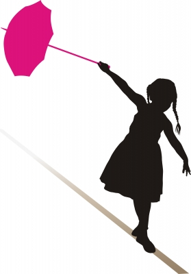 Tightrope walker girl clipart.