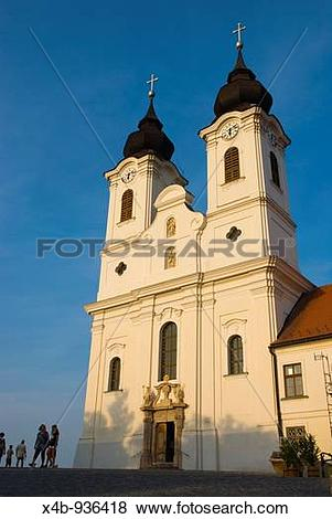 Pictures of Baroque style Benedictine abbey in Tihany Hungary.