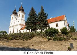 Stock Photography of Abbey Church in Tihany at Lake Balaton.