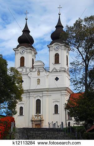Stock Photo of Baroque Church in Tihany, Hungary k12113284.