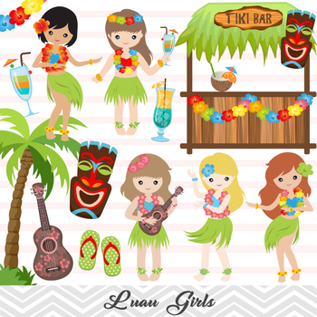 Digital Luau Girl Clip Art, Hawaii Clip Art, Tiki Clipart, Hula Girl Clipart.