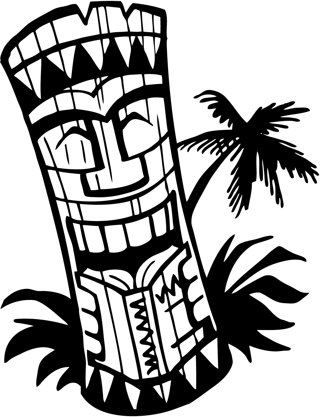 Tiki Clip Art Black And White.