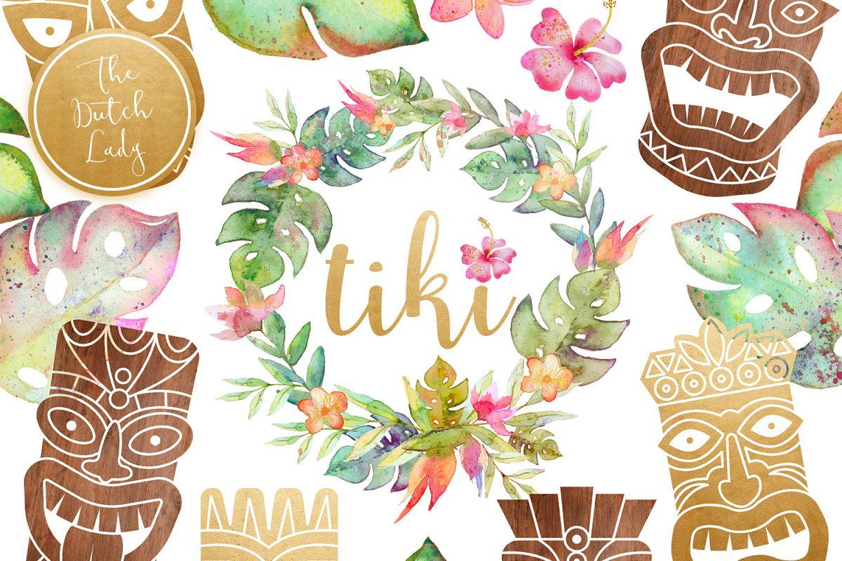 Hawaiian Tiki Mask Clipart Set.