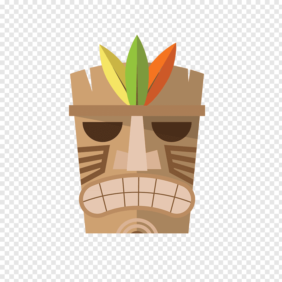 Brown tiki mask illustration, Hawaiian, Hawaiian chiefs face.