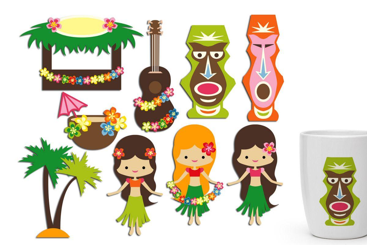 Hawaii luau party graphics.