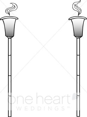 Black and White Tiki Torch Clipart.