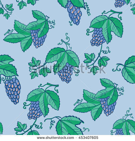 Vector Line Art Seamless Pattern With Grape And Green Leaves. Tile.
