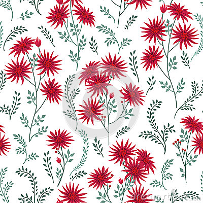 Floral Tile Pattern. Leaves And Flowers. Nature Herb Background.