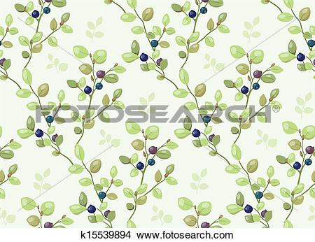 Drawings of Tiled pattern with blueberry bushes k15539894.