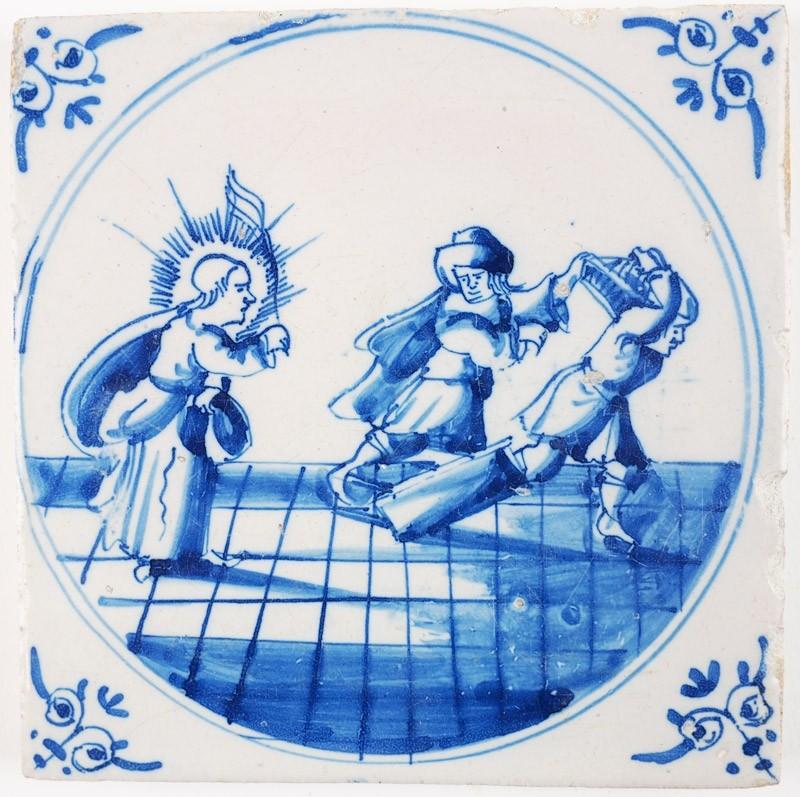 Antique Delft biblical tile depicting how Jesus expels the.