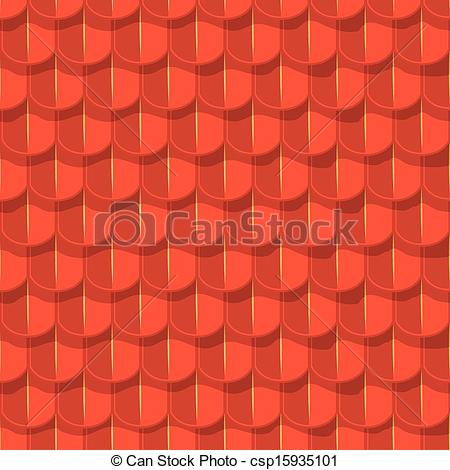 Vector Clipart of Vector seamless background. Red tile roof with.