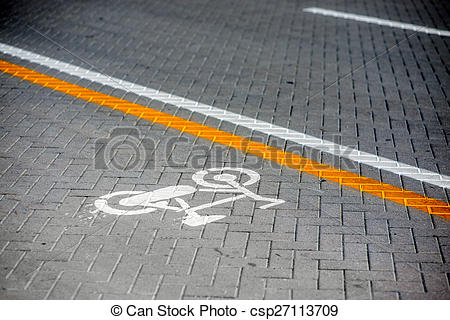 Stock Photography of Bicycle road marking.