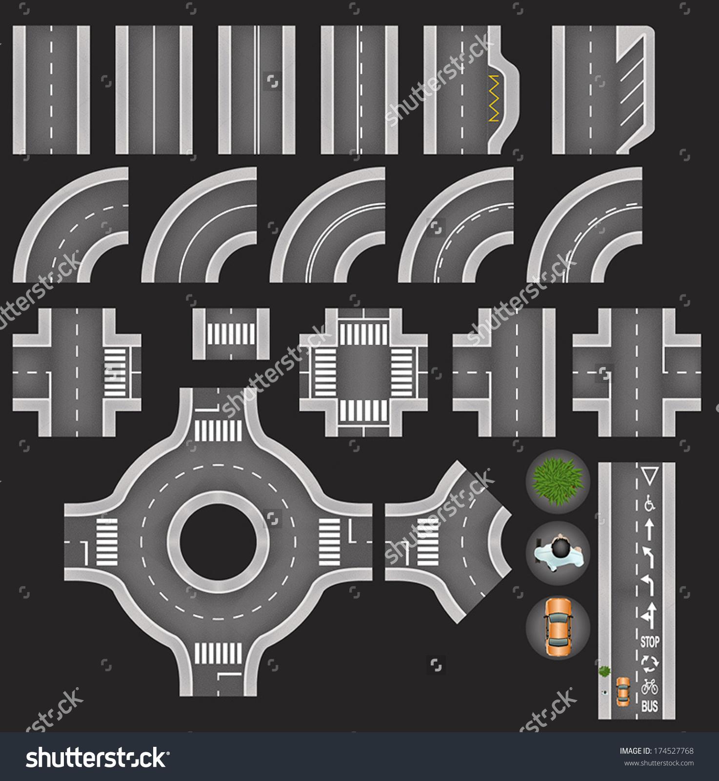 Set Top View City Road Tiles Stock Vector 174527768.