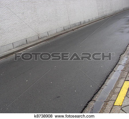 Stock Illustration of white tile wall , road and side walk.