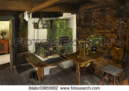 """Stock Photo of """"Living room with a tiled stove in Markus Wasmeier."""