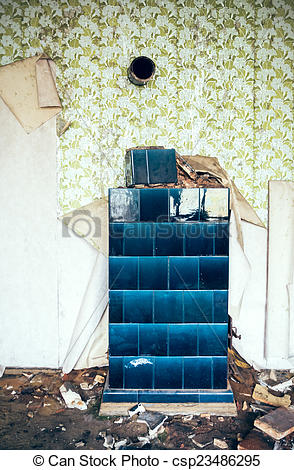 Stock Photographs of old tiled stove.