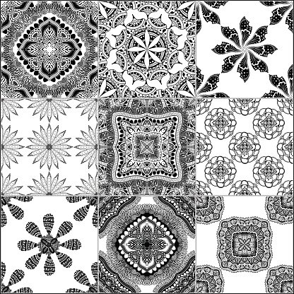 Black and white geometric tiles Clipart Image.