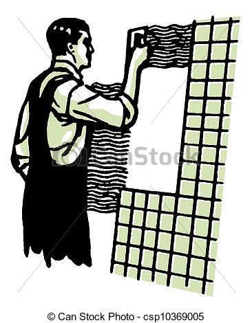 Stock Illustration of A vintage illustration of a man tiling.