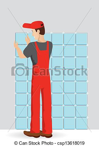 Vector Clip Art of Man tiling a wall in the room csp13618019.