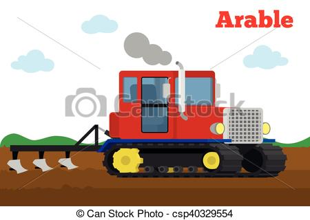 Clipart Vector of Crawler tractor with plow tillage field.