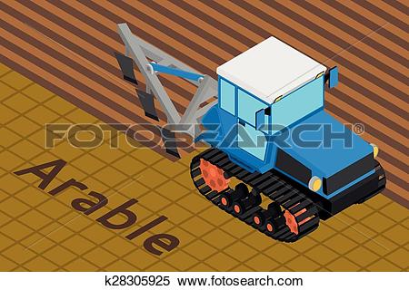 Clipart of Agricultural crawler tractor with plow tillage a field.