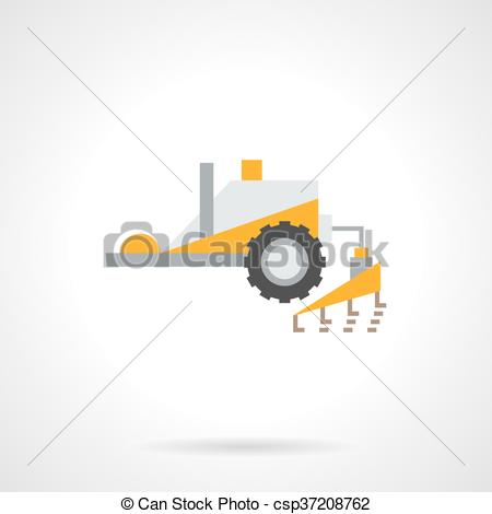 Clip Art Vector of Plowing tractor flat color vector icon.