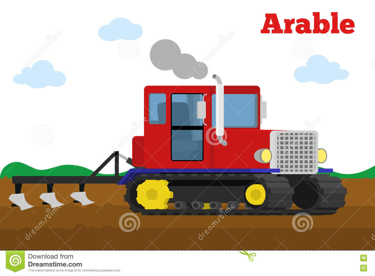 Crawler Tractor With Plow Tillage Field. Stock Vector.