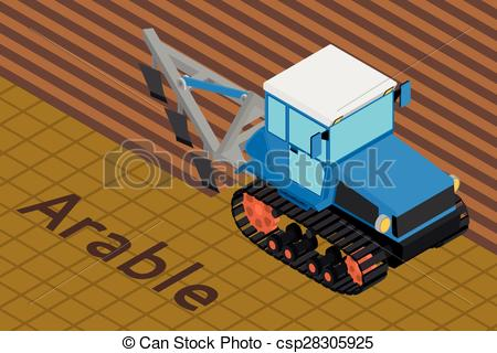 Vector Illustration of Agricultural crawler tractor with plow.
