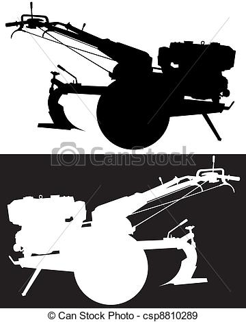 EPS Vectors of power tillers silhouettes on a black and white.
