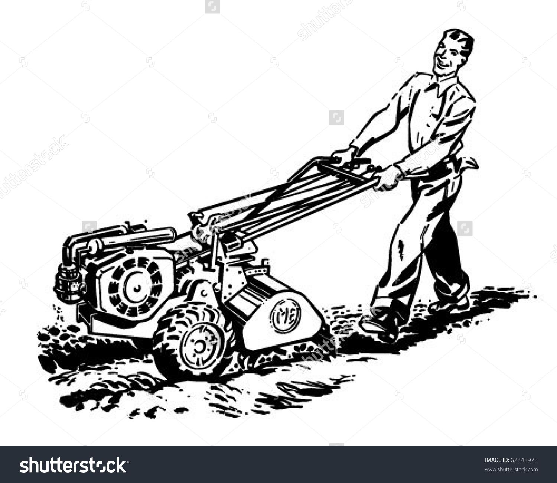 Man Roto Tiller Retro Clipart Illustration Stock Vector 62242975.