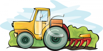 Royalty Free Clipart Image: Cartoon of a Tractor Pulling a Tiller.