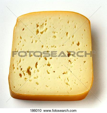 Stock Photography of A slice of Tilsit cheese with rind 186010.